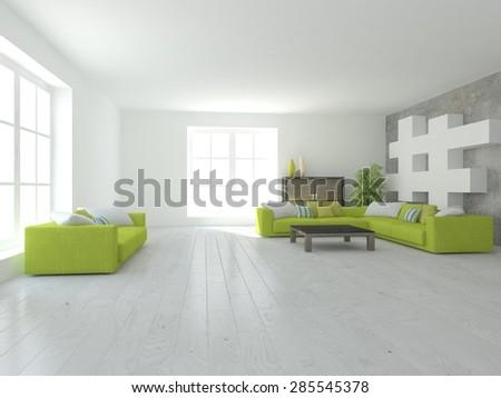 white interior design -3d rendering - stock photo