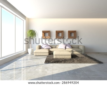 white interior design -3d rendering - stock photo