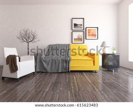 scandinavian nursery furniture. White Interior Design Of A Nursery With Furniture. Scandinavian Design. 3d Illustration Furniture