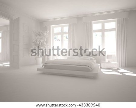 white interior design of bedroom. Abstract composition. 3D illustration - stock photo