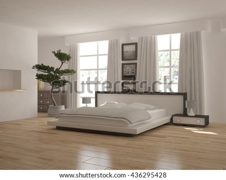 white interior design of bedroom with modern furniture.3D illustration - stock photo