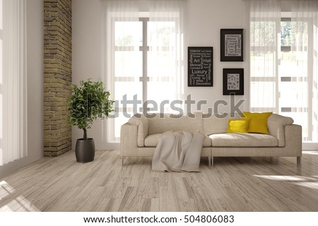 White interior design of living room. Scandinavian style. 3D illustration