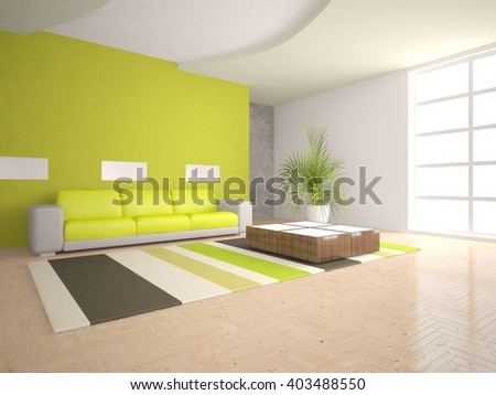 White interior design of living room with green furniture - 3d illustration
