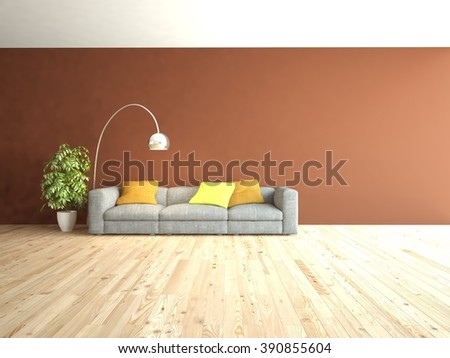 white interior design of living room with grey furniture and brown wall - 3d illustration - stock photo