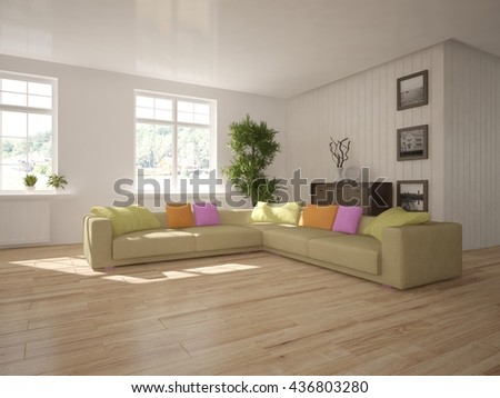 white interior design of living room with modern furniture.3D illustration - stock photo