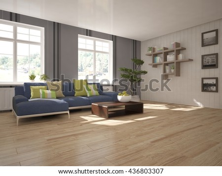 white interior design of living room with modern furniture.3D illustration