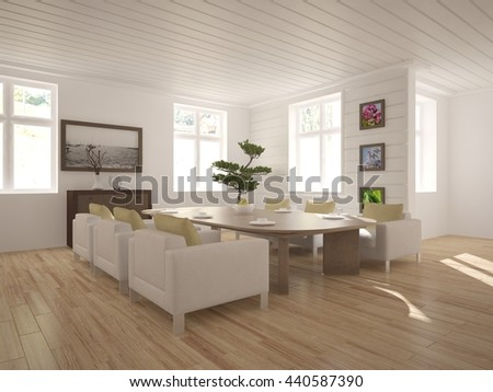 white interior design of living room with modern furniture. Scandinavian interior. 3D illustration