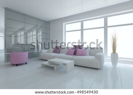 White interior design of living room with modern sofa. Scandinavian style. 3D illustration