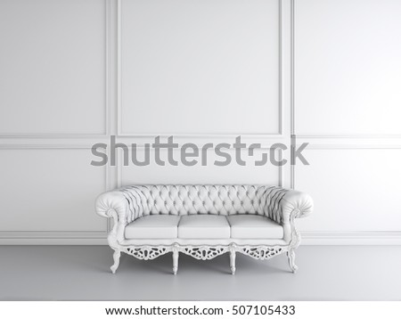 White interior design of living room with sofa 3D illustration