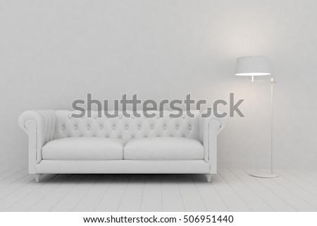 White interior design of living room with sofa. Scandinavian style. 3D illustration