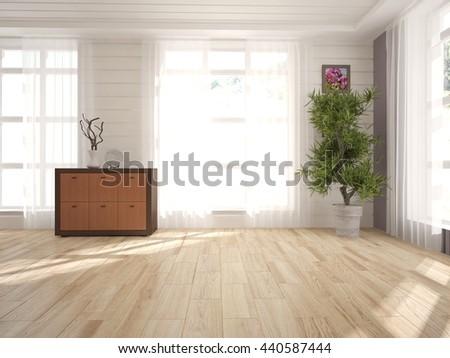 white interior design of living room with wooden shelf. Scandinavian interior. 3D illustration - stock photo