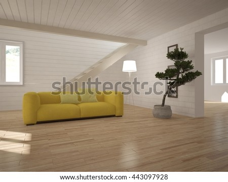 white interior design of modern home. Scandinavian interior. 3D illustration