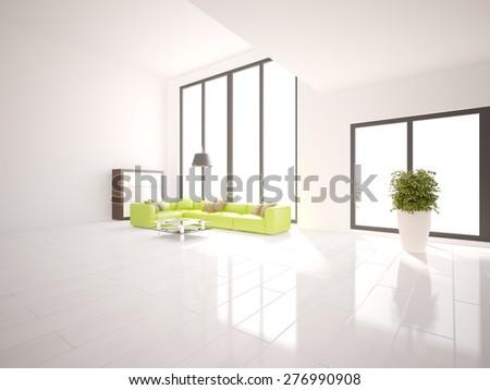 white interior design of modern house -3d rendering - stock photo