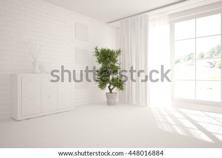 white interior design. Scandinavian style. 3D illustration - stock photo