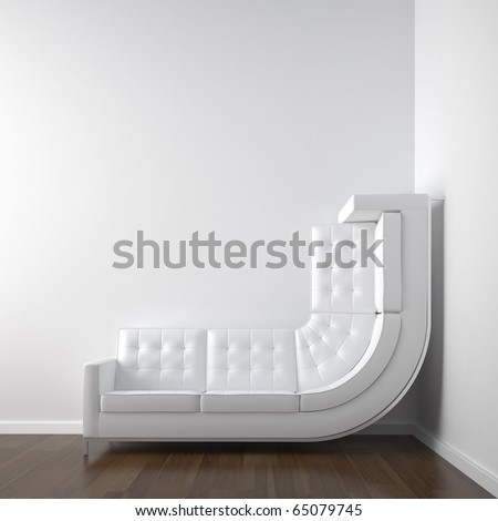 white interior design with a bended couch in a corner room climbing up the wall with plenty copy space. - stock photo