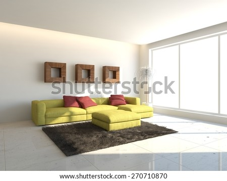 white interior design with green furniture-3D rendering - stock photo