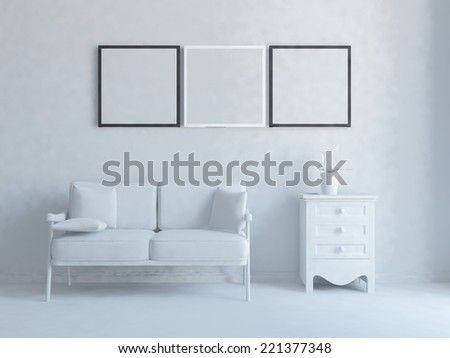 white interior of a living room - stock photo