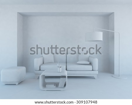 white interior of a living room/ 3d illustration - stock photo