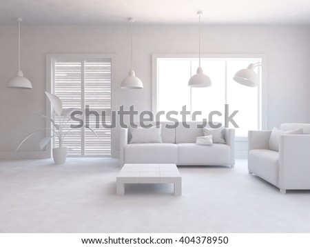 White interior of a living room. 3d illustration