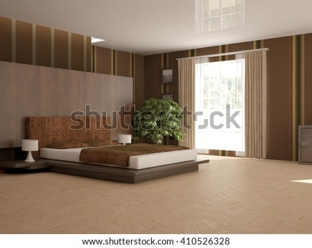 white interior of bedroom -3D illustration