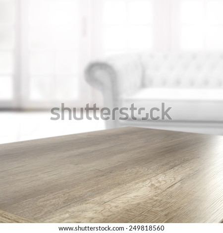 white interior of luxury chic and coffee table  - stock photo