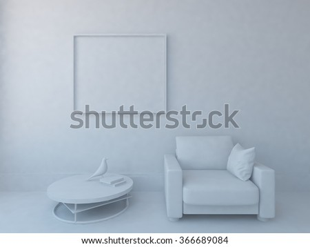 white interior with armchair. 3d illustration