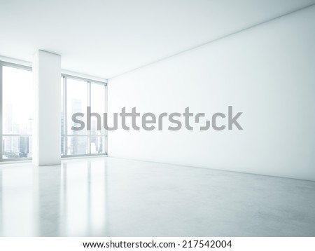 White interior with big blank wall - stock photo