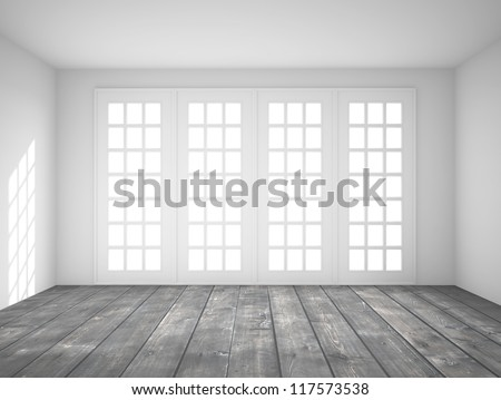 white interior with big window - stock photo