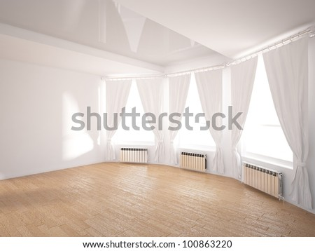 white interior with blinds - stock photo