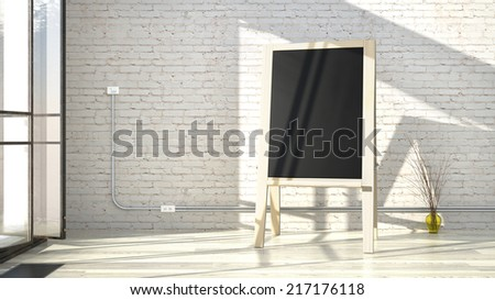 white interior with bricks wall and wooden easel