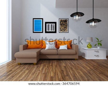 white interior with brown soda. 3d illustration - stock photo