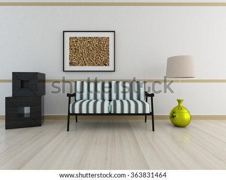 white interior with canape. 3d illustration - stock photo