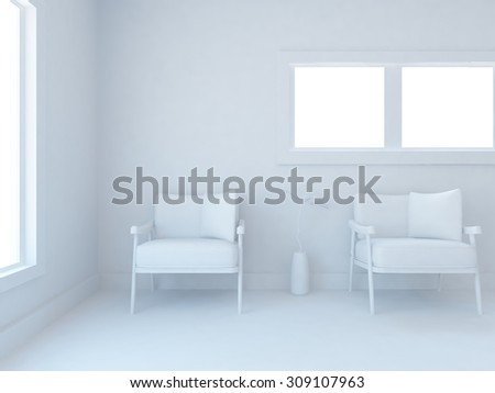 white interior with chairs. 3d rendering