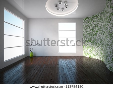white interior with empty green wall - stock photo