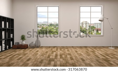 white interior with large window. 3d illustration - stock photo