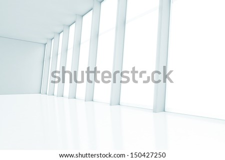 white interior with large windows  - stock photo