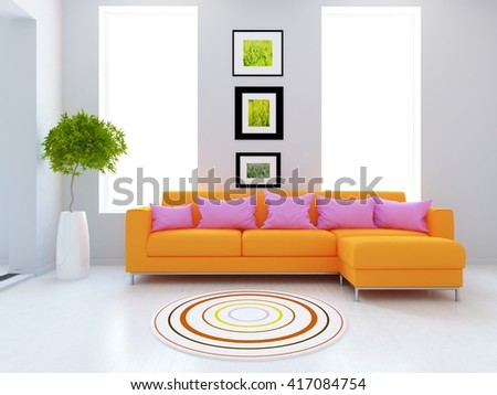 White interior with orange sofa. Living room interior. Scandinavian interior. 3d illustration - stock photo