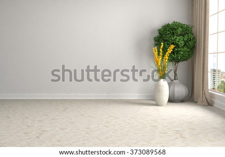 white interior with plant. 3D illustration - stock photo