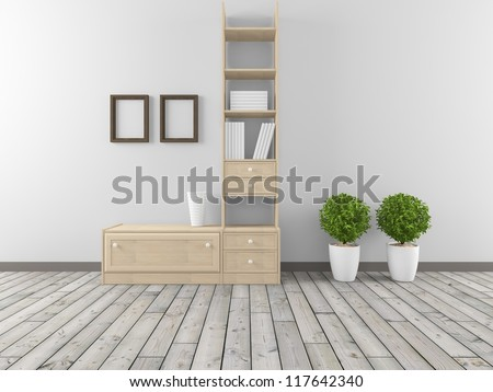 white interior with shelves - stock photo