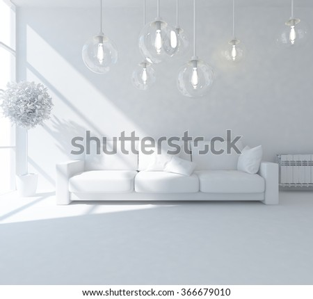 white interior with sofa.3d illustration - stock photo