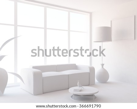 white interior with sofa. 3d illustration - stock photo