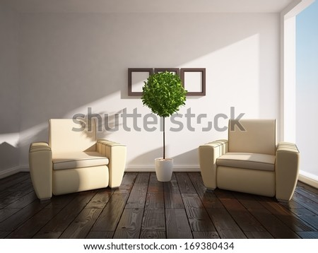 white interior with two armchairs - stock photo