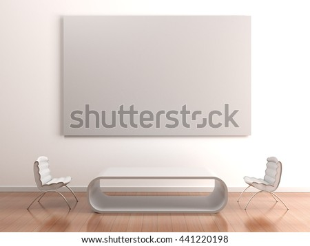 White interior with two chairs, round table and poster mockup on wall with clean white blank for advertising or branding design. Placard in interior with free space. High resolution 3d illustration. - stock photo