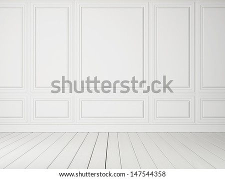 white interior with wood floor - stock photo