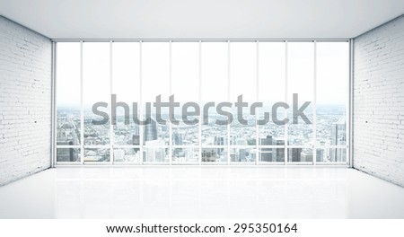 white interior with wood floor and window to city - stock photo