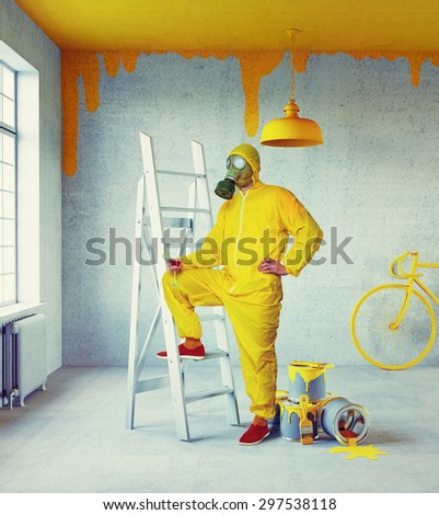 white interior with yellow painter and painted in yellow ceiling. 3d concept - stock photo
