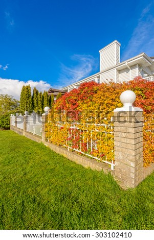 White iron fence with colorful bush and green lawn and houses. - stock photo
