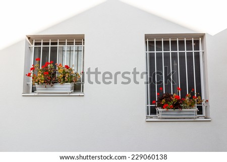 White iron grate  windows with red geraniums flower pots and white wall - stock photo