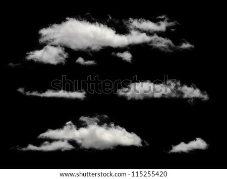 White isolated clouds. Cutout extracted clouds - stock photo