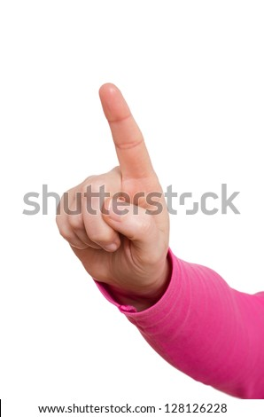White isolated female hand with stretched forefinger - stock photo